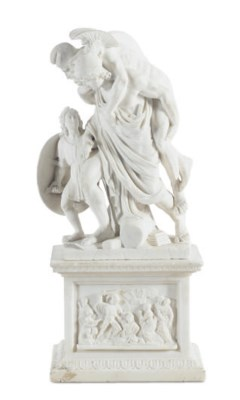 A WHITE MARBLE FIGURAL GROUP,