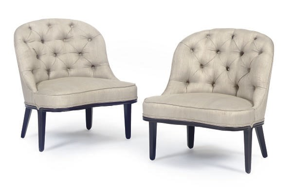 A PAIR OF UPHOLSTERED 'JANUS'