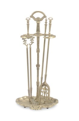 A SET OF BRASS FIRE TOOLS,