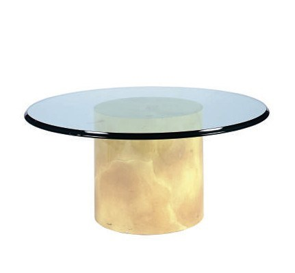 A LACQUER AND GLASS COFFEE TAB