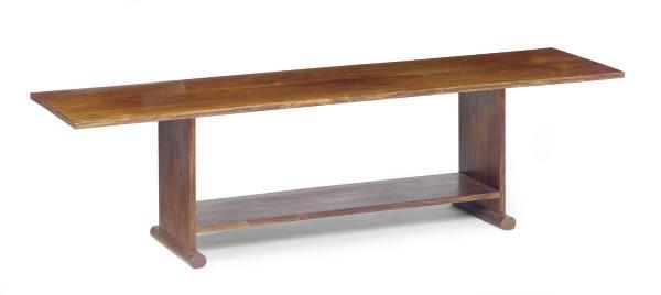 A WALNUT COFFEE TABLE,
