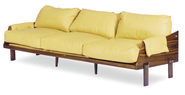 A ROSEWOOD AND LEATHER-UPHOLST