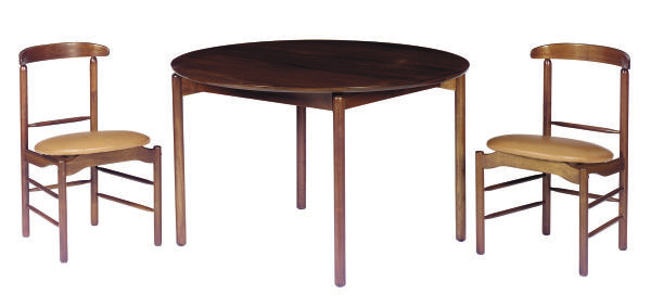 A WALNUT DINING SUITE,