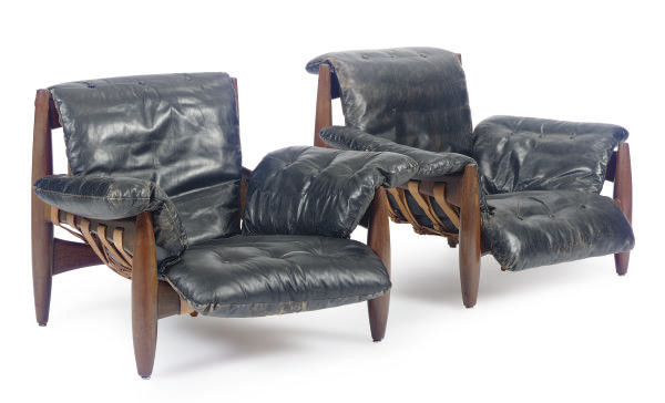 A PAIR OF TEAK AND LEATHER 'SH