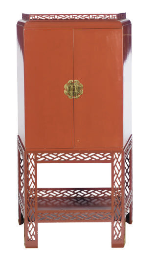 A RED-LACQUERED CABINET-ON-STA