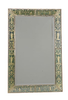 A GREEN AND GILT VERRE EGLOMIS