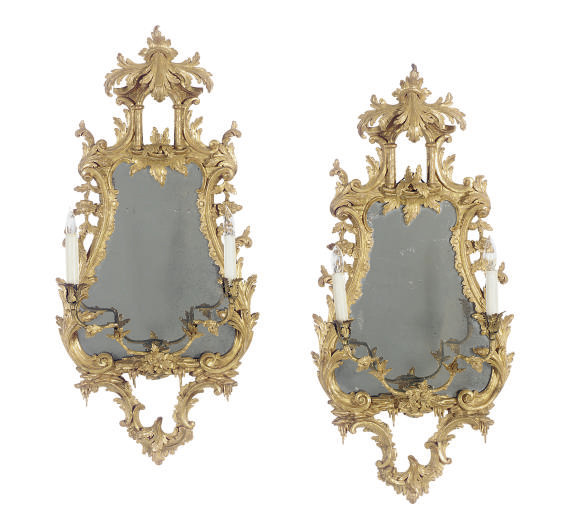 A PAIR OF GILTWOOD TWO-LIGHT G
