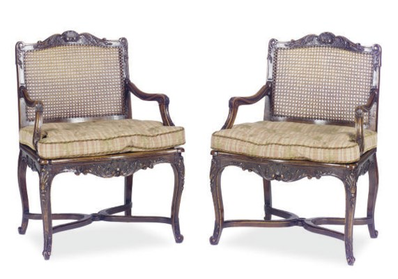 A PAIR OF STAINED-BEECHWOOD AN