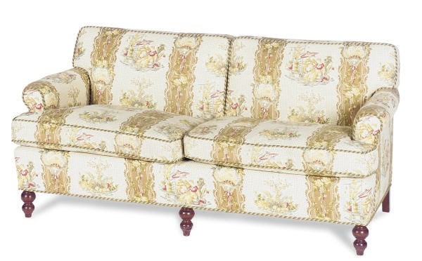 A STAINED-WOOD AND UPHOLSTERED