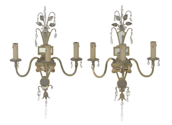 A PAIR OF GILT-METAL AND GLASS
