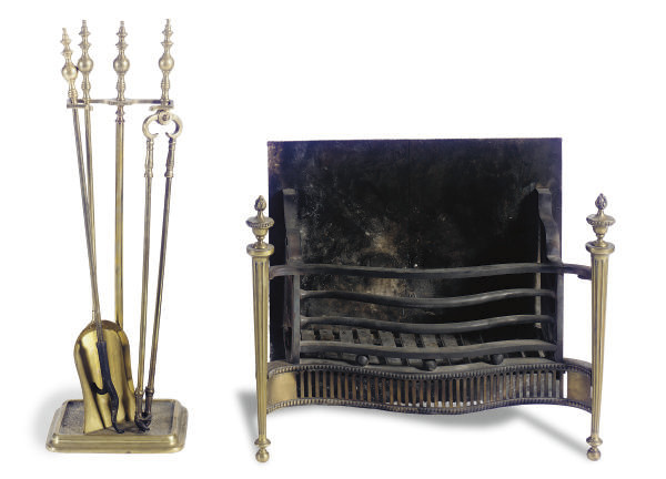 AN ENGLISH BRASS AND IRON FIRE