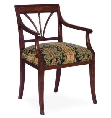 AN INLAID MAHOGANY OPEN ARMCHA