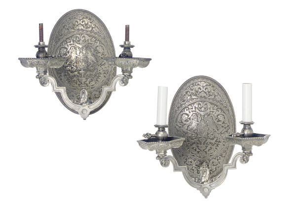 A PAIR OF SILVERED-METAL TWO-B