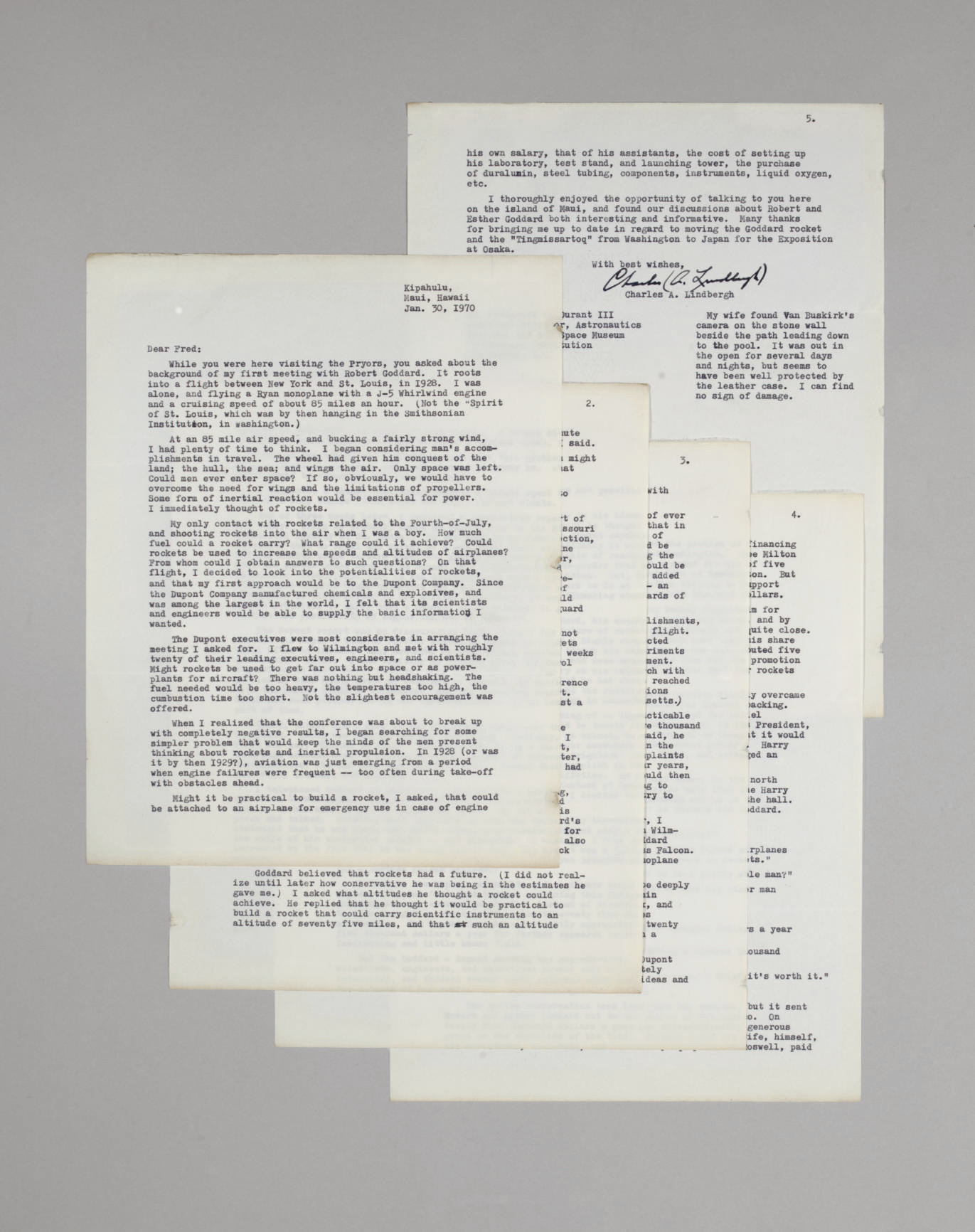 LINDBERGH, Charles A. Typed le