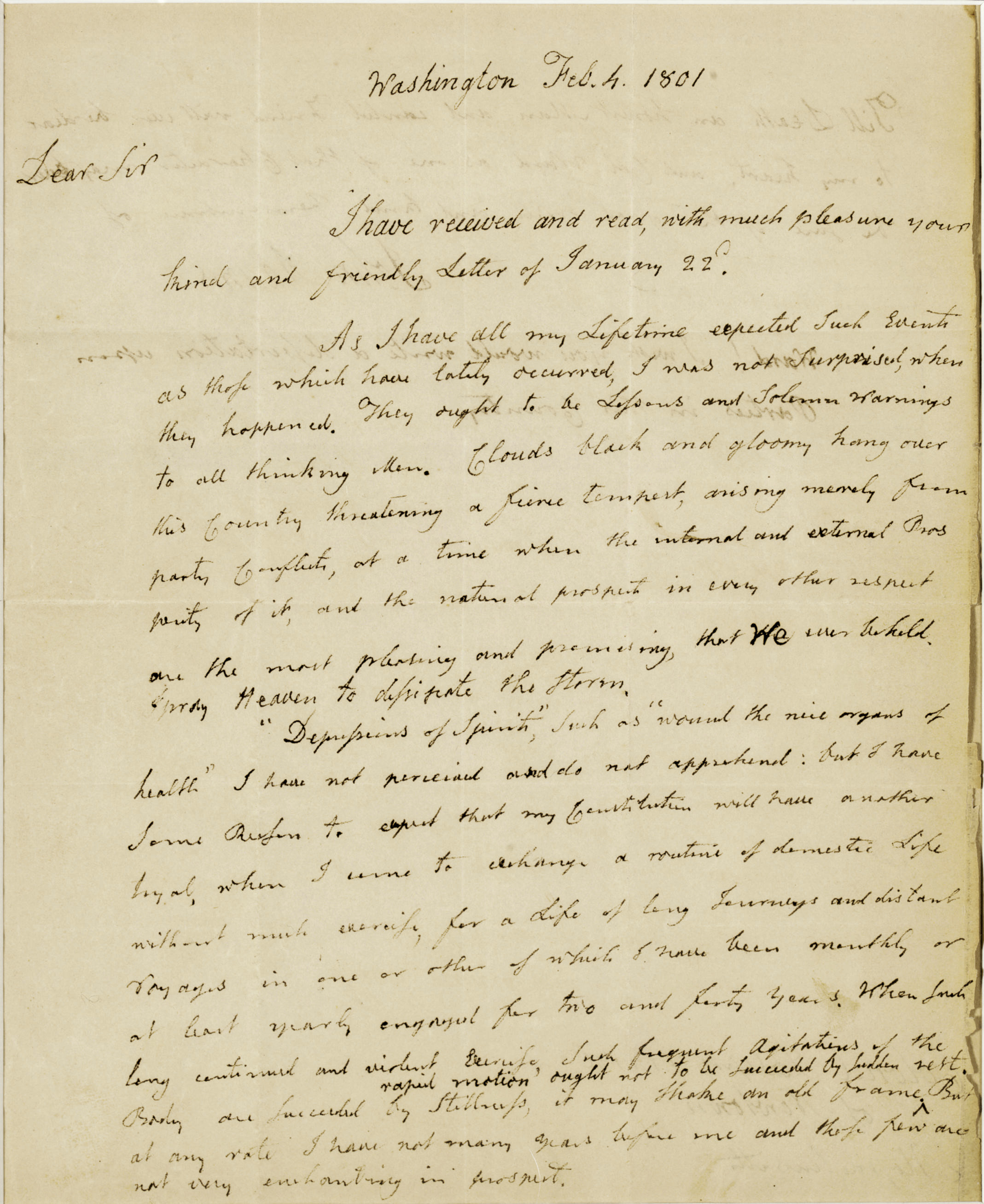 """ADAMS, John (1735-1826), President. Autograph letter signed (""""John Adams""""), AS PRESIDENT, to Col. Joseph Ward (1737-1812), Washington, D.C. 4 February 1801. 2 pages, 4to, slight chipping at lower right edge, grazing several words, very light toning at extreme margins. Matted and framed."""