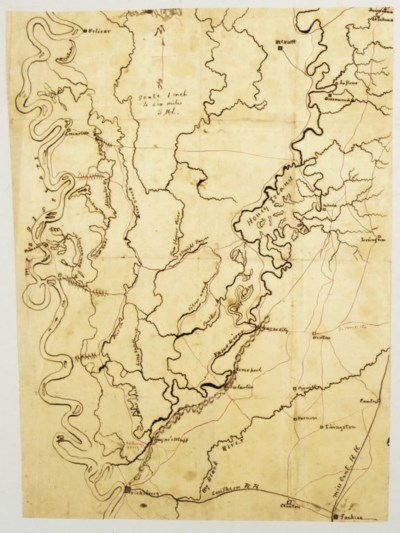 [CIVIL WAR]. Manuscript map of