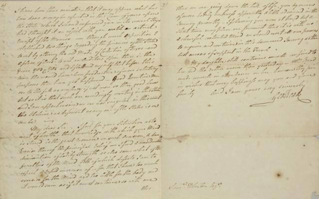 READ, George. Autograph letter