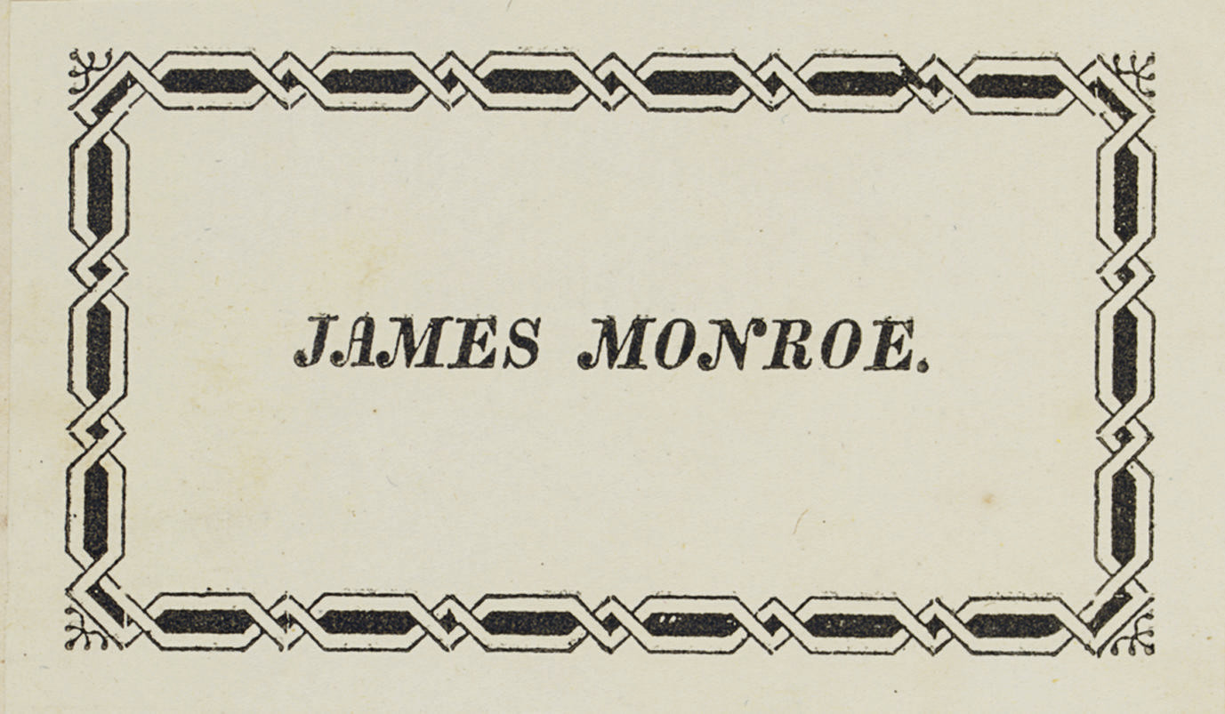 [MONROE, James]. LINNAEUS, Car