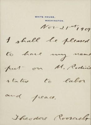 ROOSEVELT, Theodore. Autograph