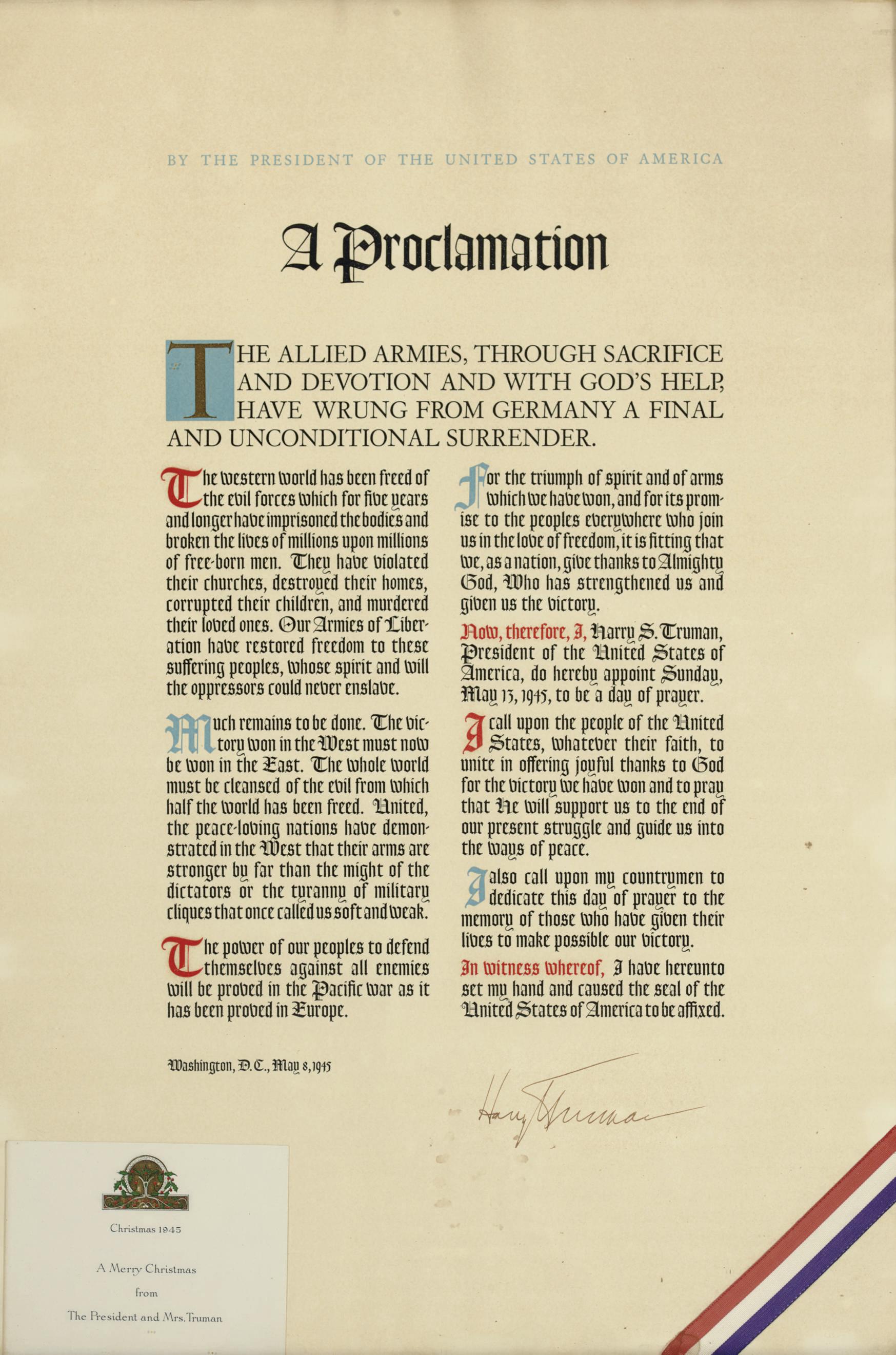 TRUMAN, Harry S. Printed broad