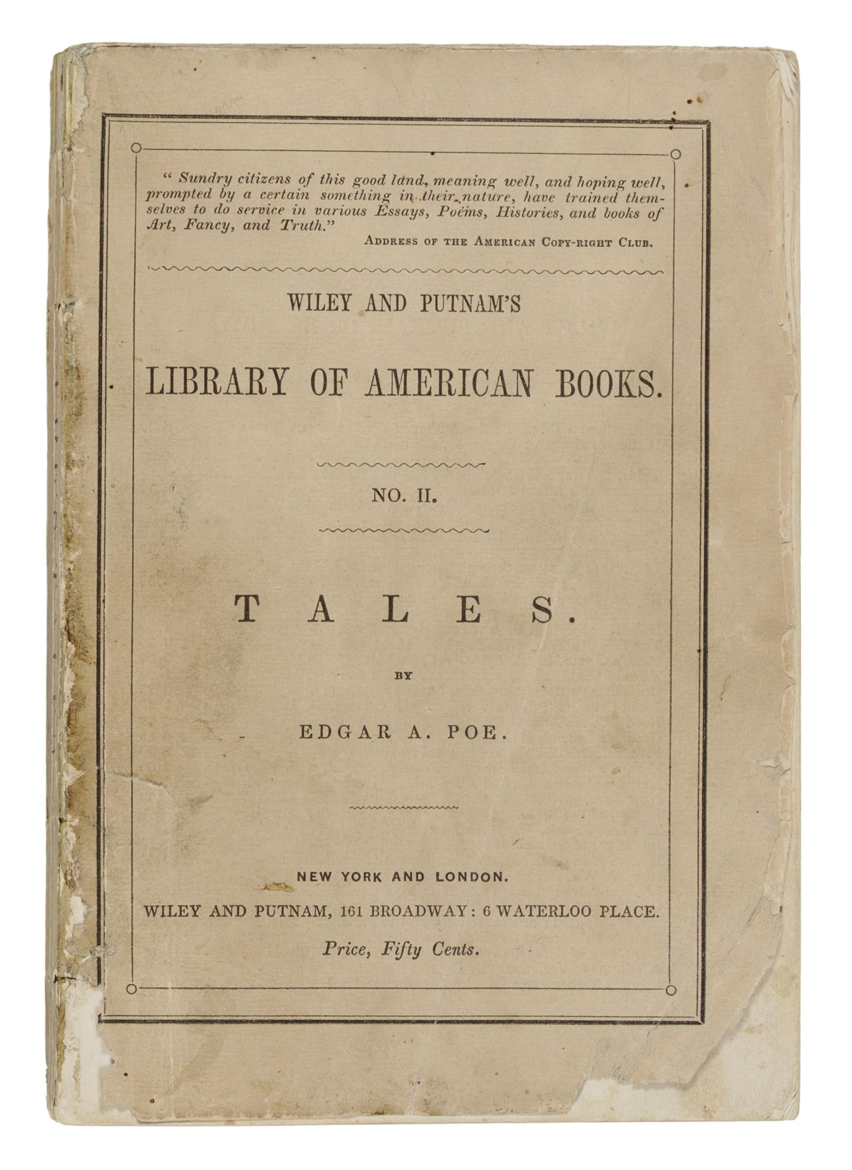 POE, Edgar Allan. Tales. New York: Wiley and Putnam, 1845