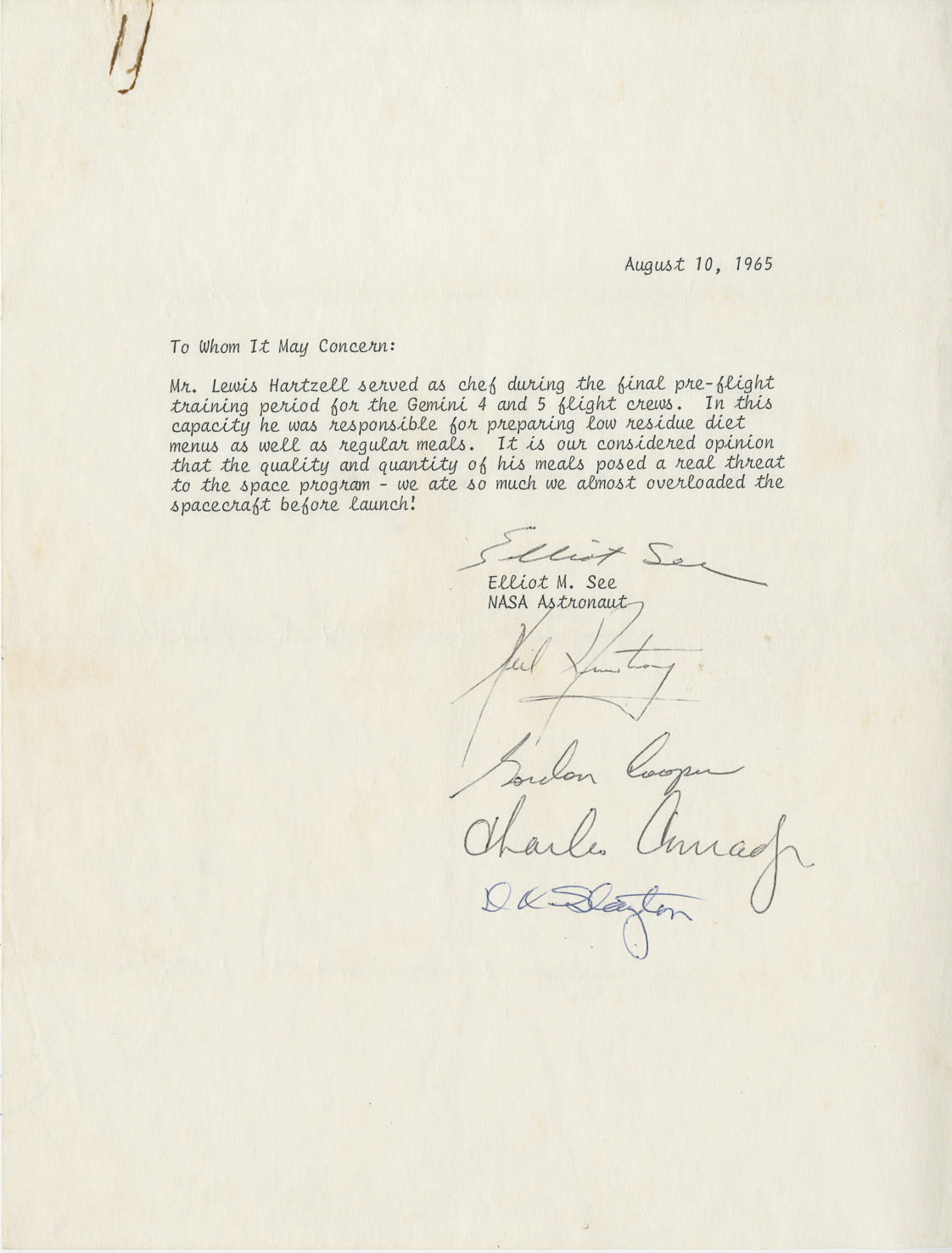 Astronaut Signed Letter