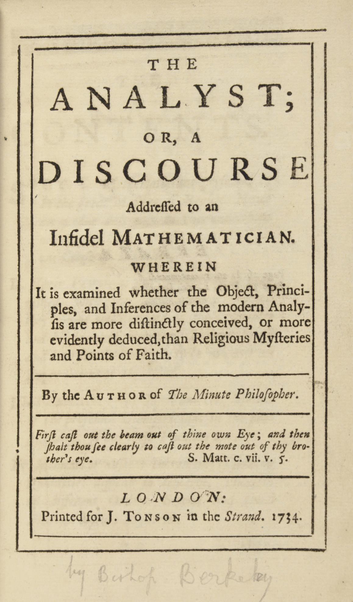 [BERKELEY, George (1685-1753)]