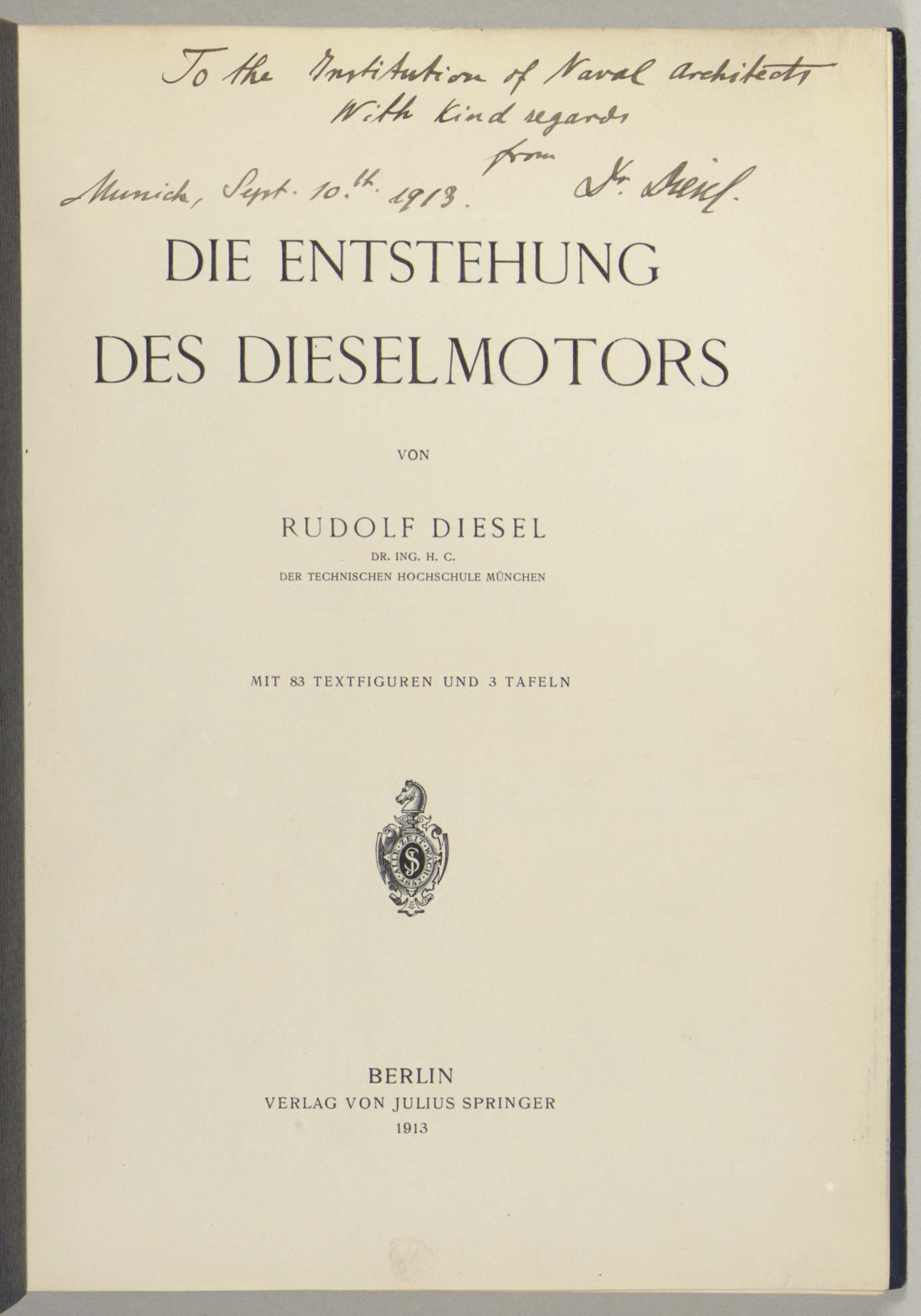 DIESEL, Rudolf (1858-1913). Di