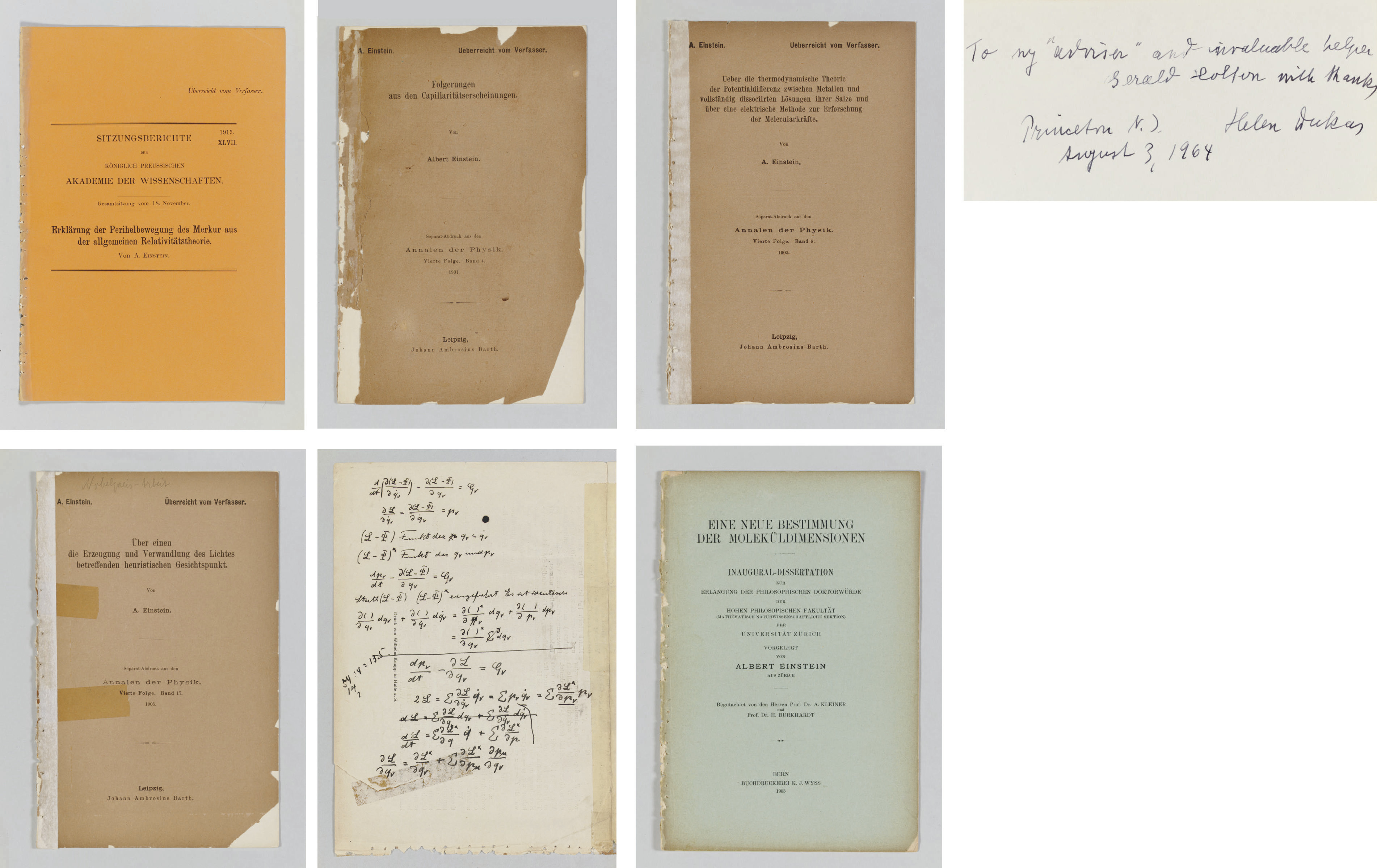 "EINSTEIN, Albert (1879-1955). Collection of 130 offprints of his own scientific papers, the most important and comprehensive collection extant, several with autograph additions and corrections and most with printed presentation statement ""Ueberreicht vom Verfasser."""