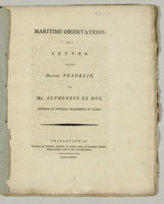 FRANKLIN, Benjamin. Maritime O
