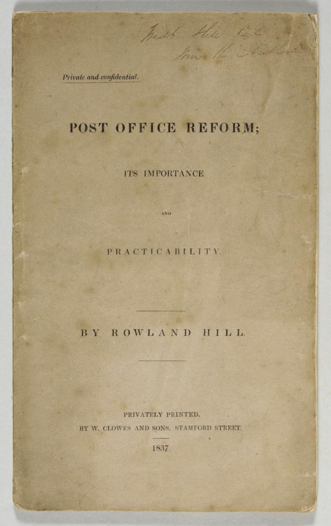 HILL, Rowland (1795-1879). Pos