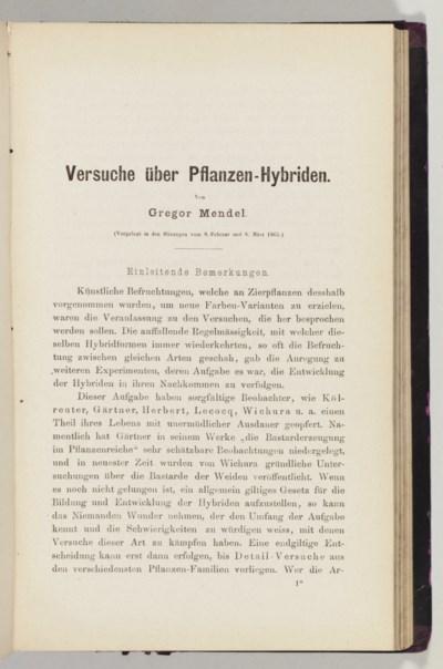 MENDEL, Johann Gregor (1822-18