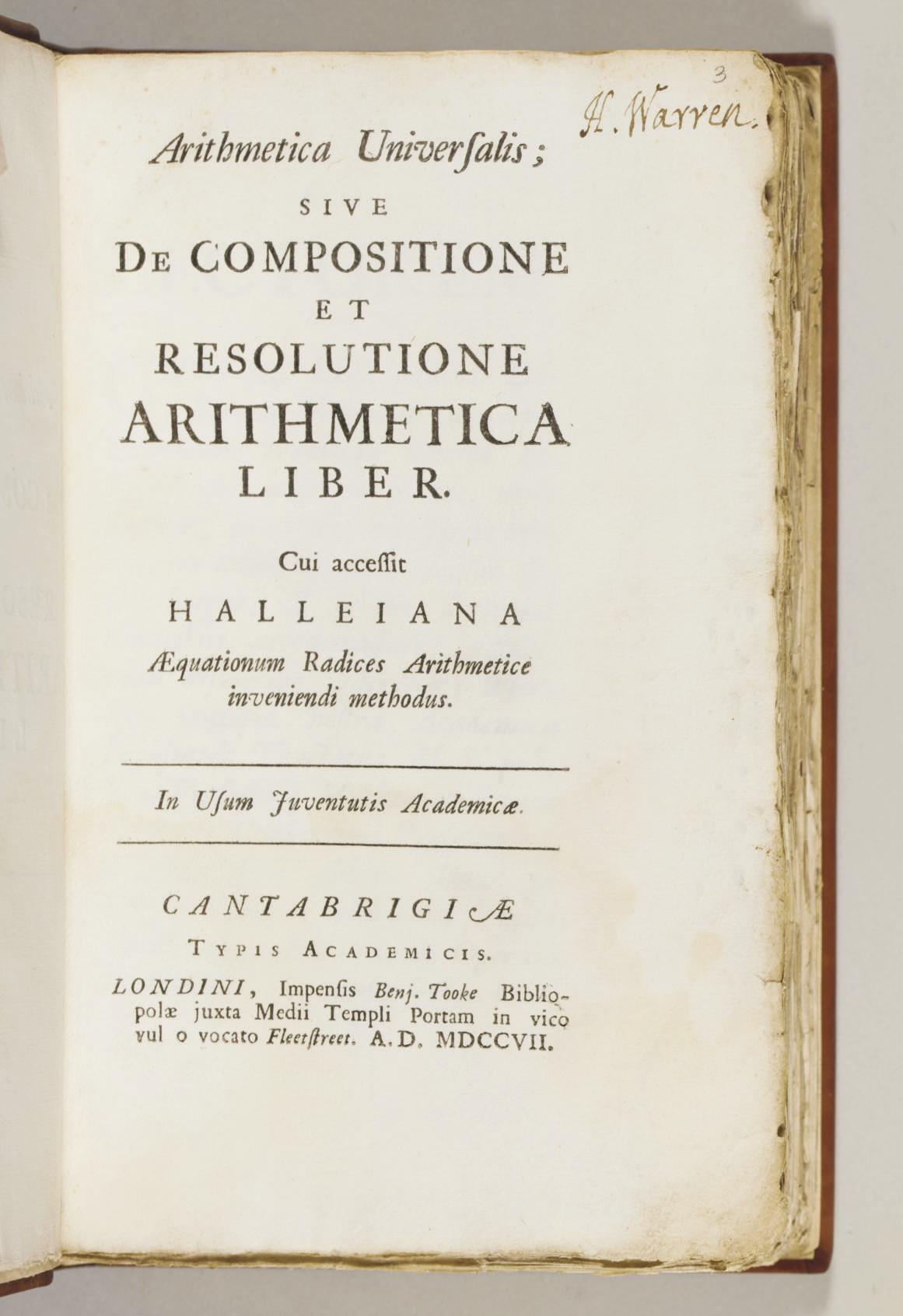 NEWTON, Sir Isaac. Arithmetica...