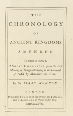 NEWTON, Isaac. The Chronology