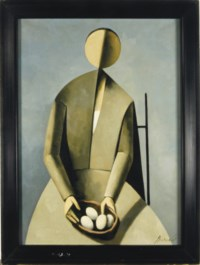 Seated figure holding a bowl of eggs