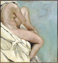 Seated nude on blue background