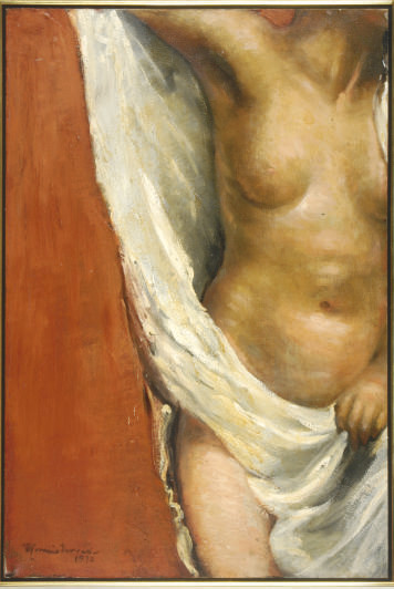 Female torso with white draperies