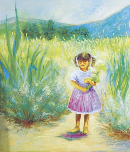 Niña con Flores; and a companion painting