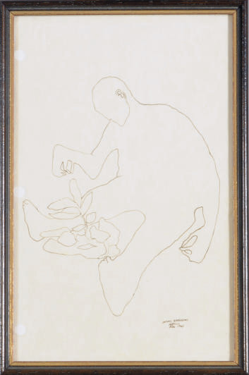 Seated figure with plant