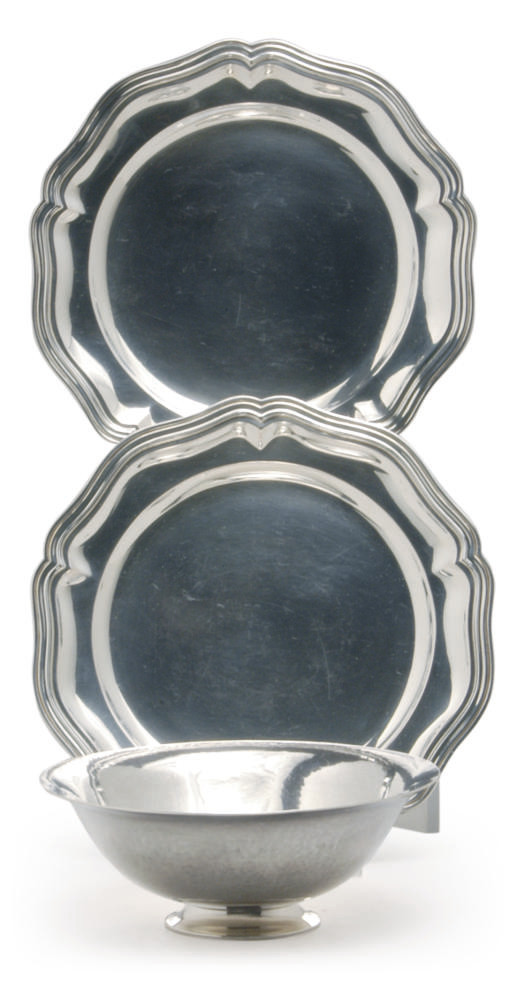 A DANISH SILVER BOWL AND A SET