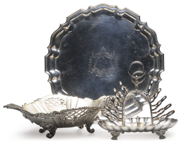 A SILVER-PLATED SALVER, PIERCE