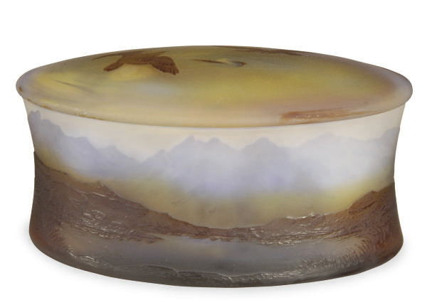 A FRENCH CAMEO GLASS BOX AND C