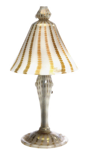 AN AMERICAN GLASS BOUDOIR LAMP