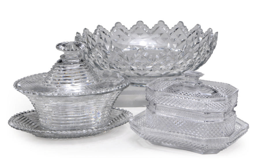 A GROUP OF CUT-GLASS SERVING P