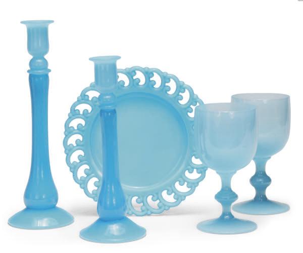 A BLUE OPALINE GLASS PART TABL