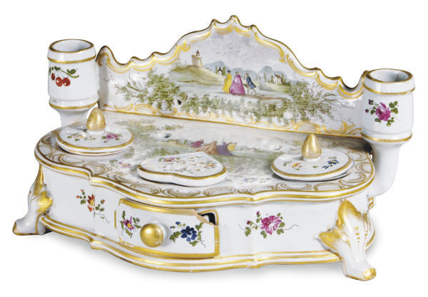 A FRENCH FAIENCE INKSTAND,