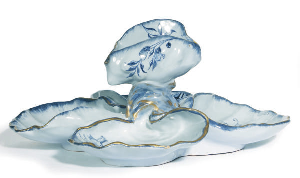 A FRENCH FAIENCE SHELL-FORM CE
