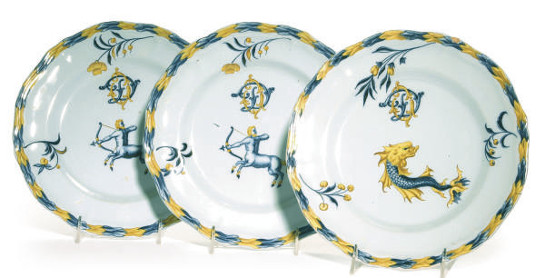 SEVEN FRENCH ZODIAC FAIENCE PL