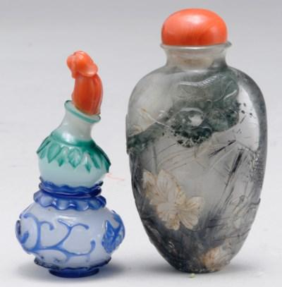 THREE CHINESE OVERLAY GLASS SN
