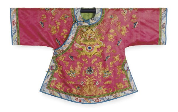 A CHINESE EMBROIDERED SILK RED